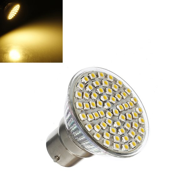 B22 4.5W 240LM Warm White 60 SMD 3528 LED Spot light Bulb 220-240V