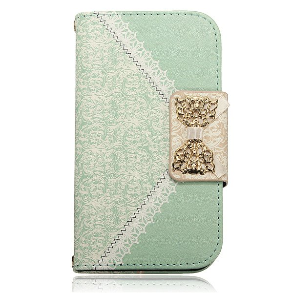 Magnetic Lace Bowknot Leather Wallet Case For Samsung Galaxy S4 i9500