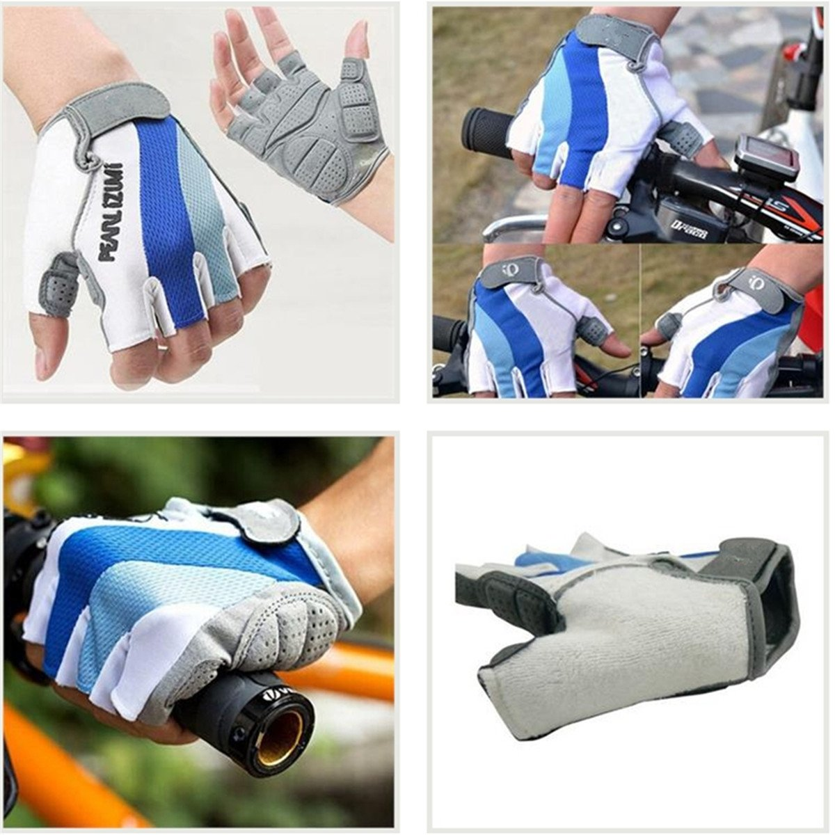 Bicycle Bike  Silicone Comfortable Half Finger Fingerless Gloves Blue