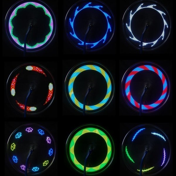 7LED 30 Patterns Wheel Spoke Wire Tyre Flash Light for Motor Bicycle