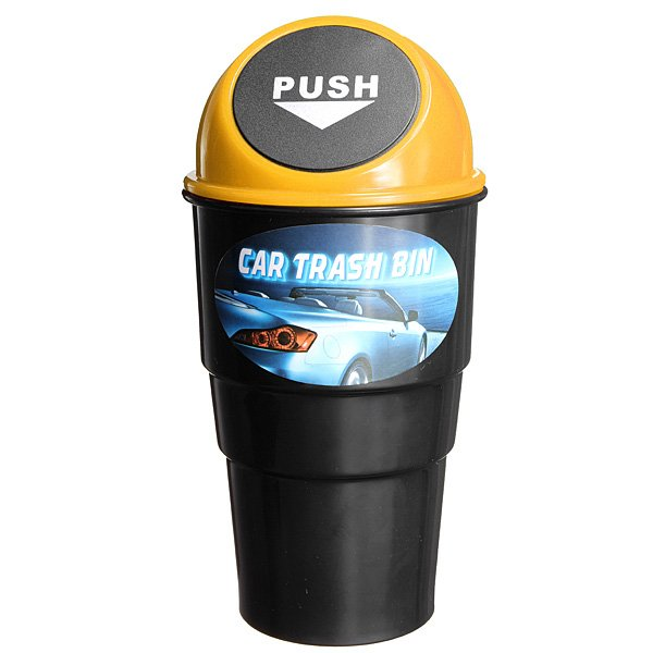 Plastic Coke Car Auto Trash Can Flip Cover Car Rubbish Box