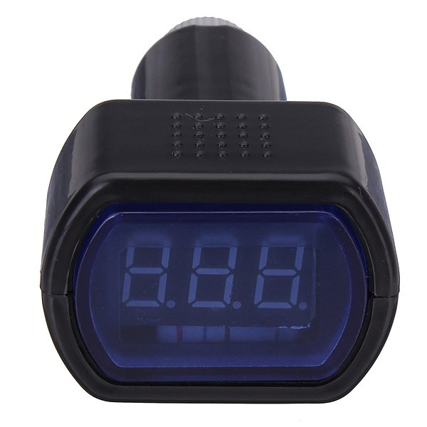 Mini Car LCD Battery Voltage Meter Monitor 12V Black