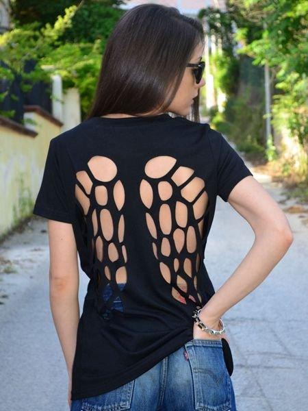 Zanzea O-Neck Short Sleeve Hollow Angel Wings Cotton T-Shirts