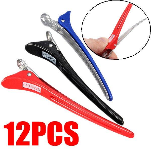 12PCS Aluminum Salon Section Hair Grip Clips