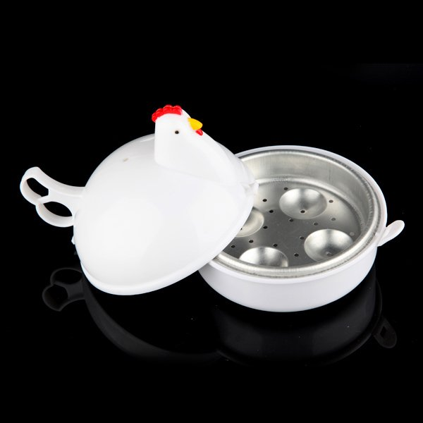 Microwave 4 Eggs Boiler Cooker Poacher Boiled Chicken Shaped