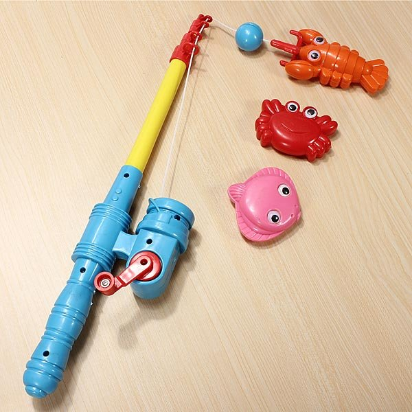 Baby Multicolor Plastic Telescopic Rod Magnet Child Water Fishing Toy