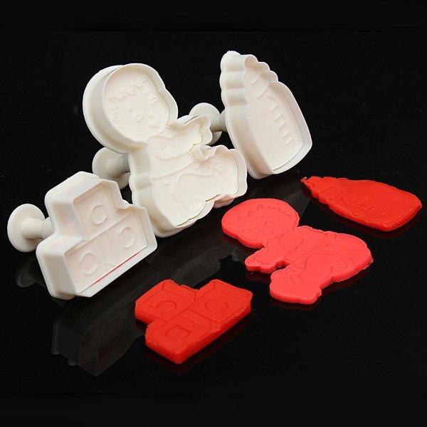 Boy Milk Bottle Toy Cookie Cutter Set Embossing Fondant Cake Mold