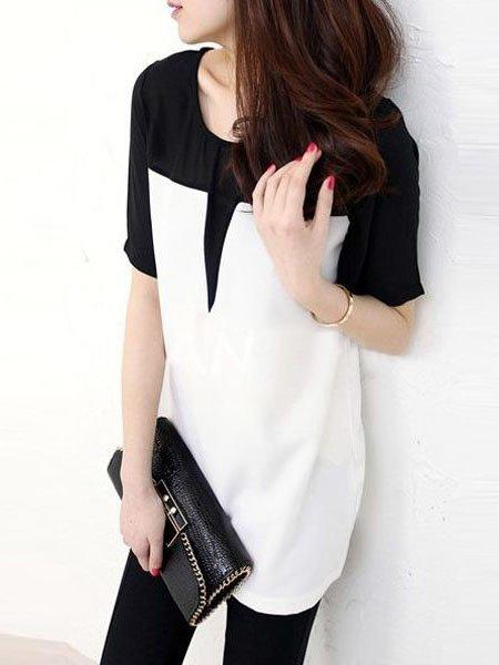 New Fashion Splicing Color Short Sleeve Chiffon Blouses Mini Dress