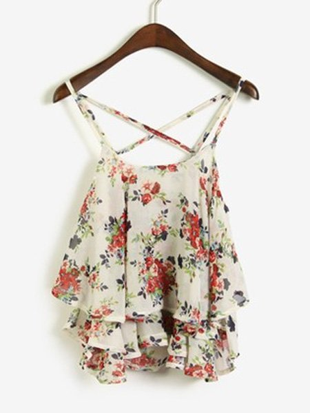 Women Floral Printed Cross Halter Flounced Chiffon Tank Top
