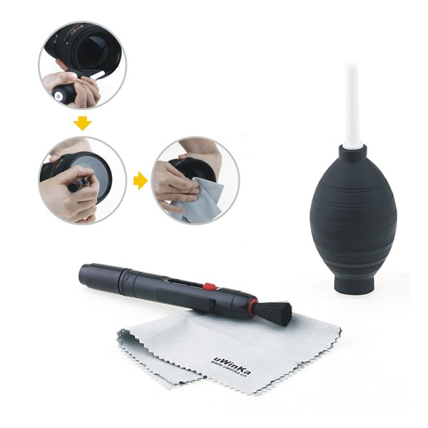 3 in 1 Lens Cleaning Cleaner Camera Cleaner Dust Pen Blower Cloth Kit