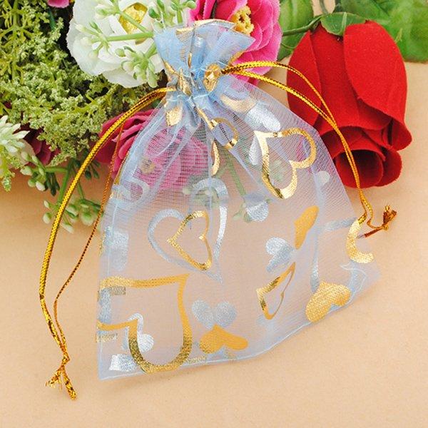 100pcs Blue Organza Jewelry Pouch Favor Gift Bag 9.5X11.5CM
