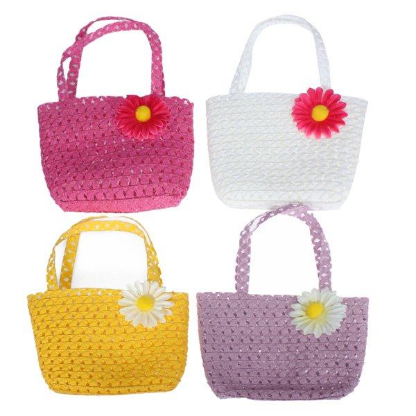 Summer Tote Straw Girls Kids  Flower Straw Beach Cap Handbag Set