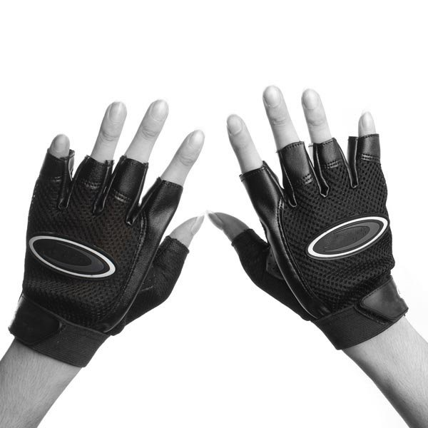 Leather Weightlifting Half Finger Gloves Gym Exercise Training