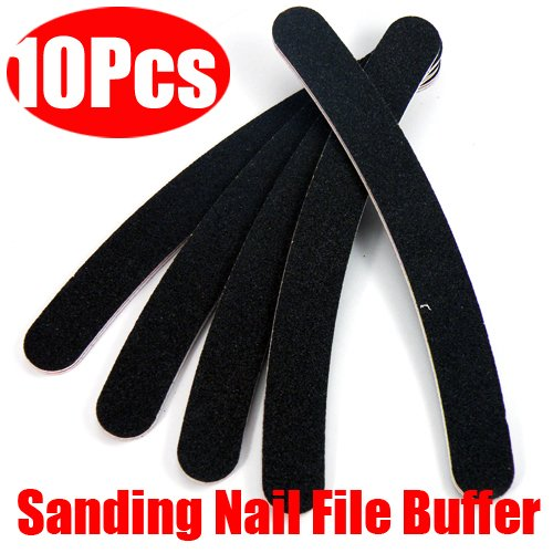 10 Nail Buffer Buffing Sanding File Crescent Sandpaper