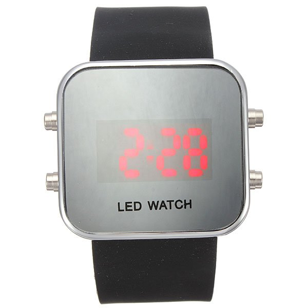 Mirror LED Digital Date Jelly Silicone Rubber Sport Wrist Watch