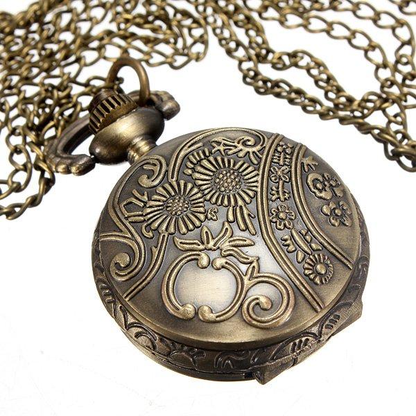 Vintage Bronze Hollow Flower Key Star Pendant Quartz Pocket Watch