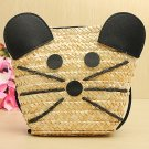 Straw Mouse Crossbody Bags