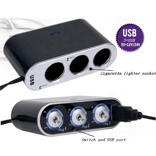 3 Way Triple Car Cigarette Lighter Socket Splitter LED Light Switch