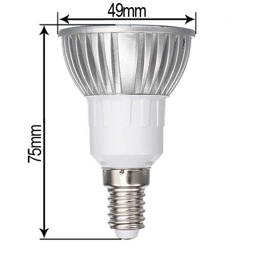 E14 3W Warm White 3 LED Energy Saving Spot Light Lamp Bulb 85-240V