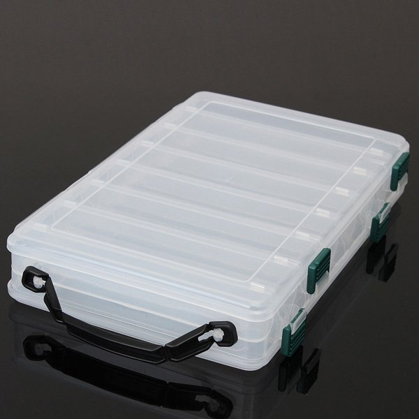 Clear Plastic Fish Lure Hook Box 14 Compartments Tackle Case
