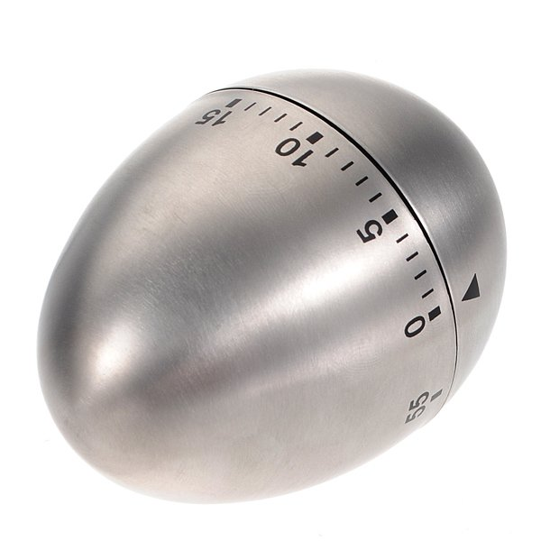 Stainless Steel Egg Shape 60 Minute Countdown Cooking Alarm Timer