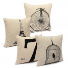 Fashion Cotton Linen Beige Pillow Case Home Decors 4 Pattern