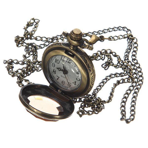 Vintage Crystal Flower Chain Necklace Quartz pocket watch