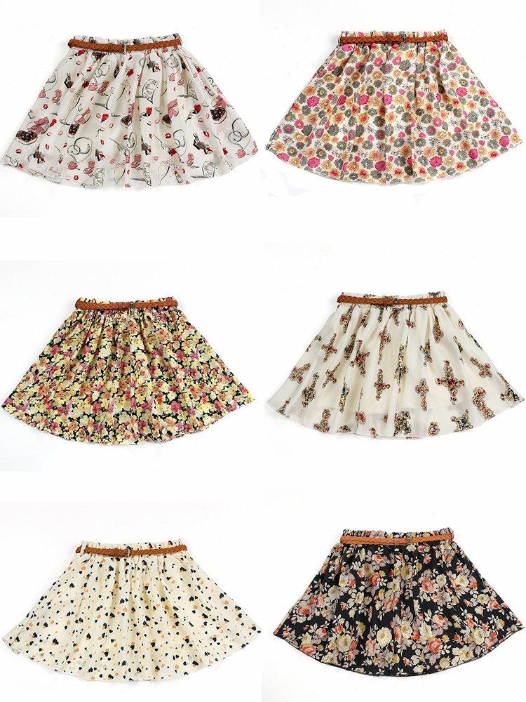 Floral Pattern Ruffle Skirt