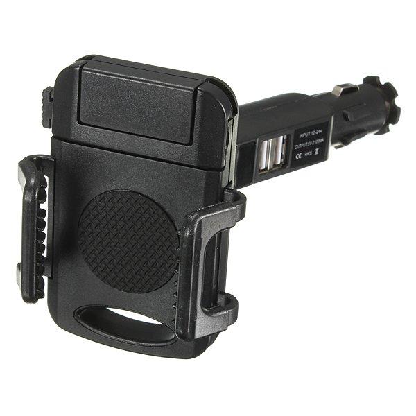 Dual USB Car Cigarette Lighter Phone Mount Holder Adjustable Rotation