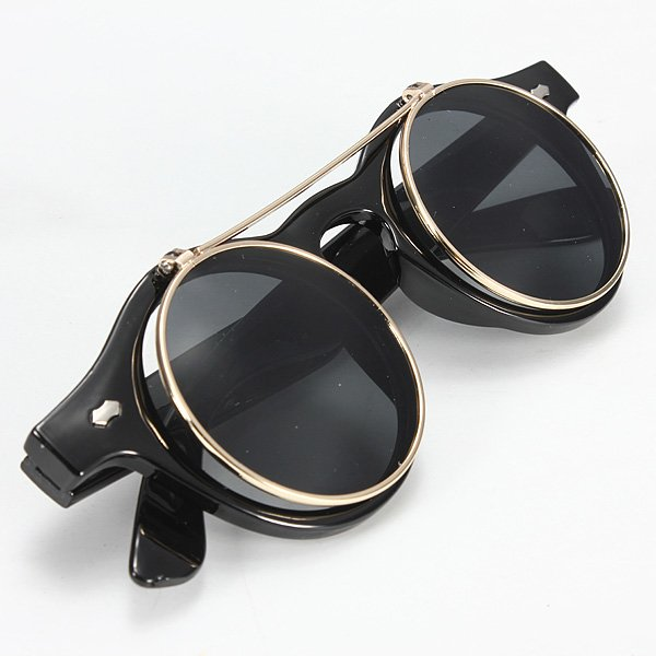 Men's Fashion Sunglasses Retro Lens Turnover Goggles Black Sunglasses