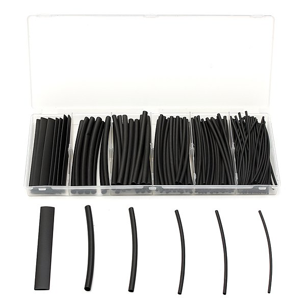 160Pcs Black Polyolefin 2:1 Heat Shrink Tubing 1.5/2.5/3/4.5/6/9mm