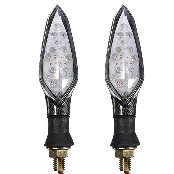 12V 16 LEDs Carbon Motorcycle Turn Light Indicators Lamp