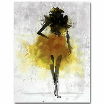 Fashion Yellow Girl Minimalist Abstract Art Canvas Oil Print Paintings Framed