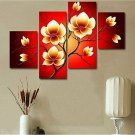 4PCS Modern Abstract Oil Paintings Flowers Huge Wall Decor Art No Framed