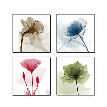 4Pcs Framed Abstract Flower Canvas Print Art Painting Home Wall Decorations