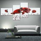 4 PCS Geometric Flower Canvas Art Print Paint Wall Picture Poster Mural DIY
