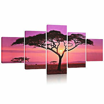 Large Sunset & Tree Canvas Print Wall Art Picture NO Frame