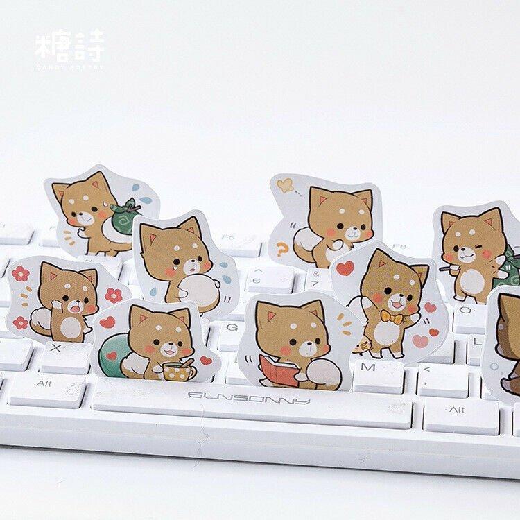 45 pc | Cute Shiba Inu Dog Label Stickers | Decorative Stickers