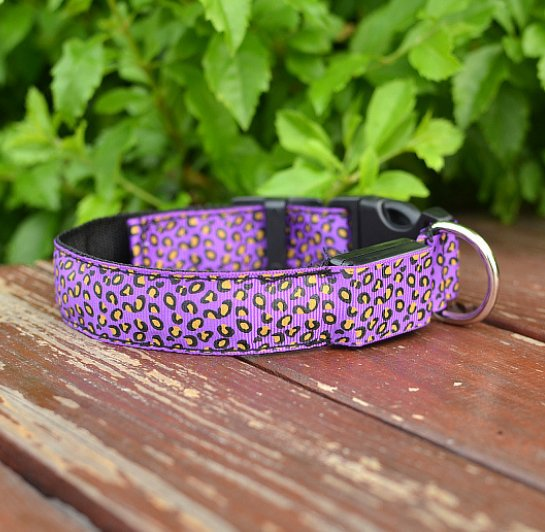 LED Dog Collar Safety Adjustable Nylon Leopard Pet Collar