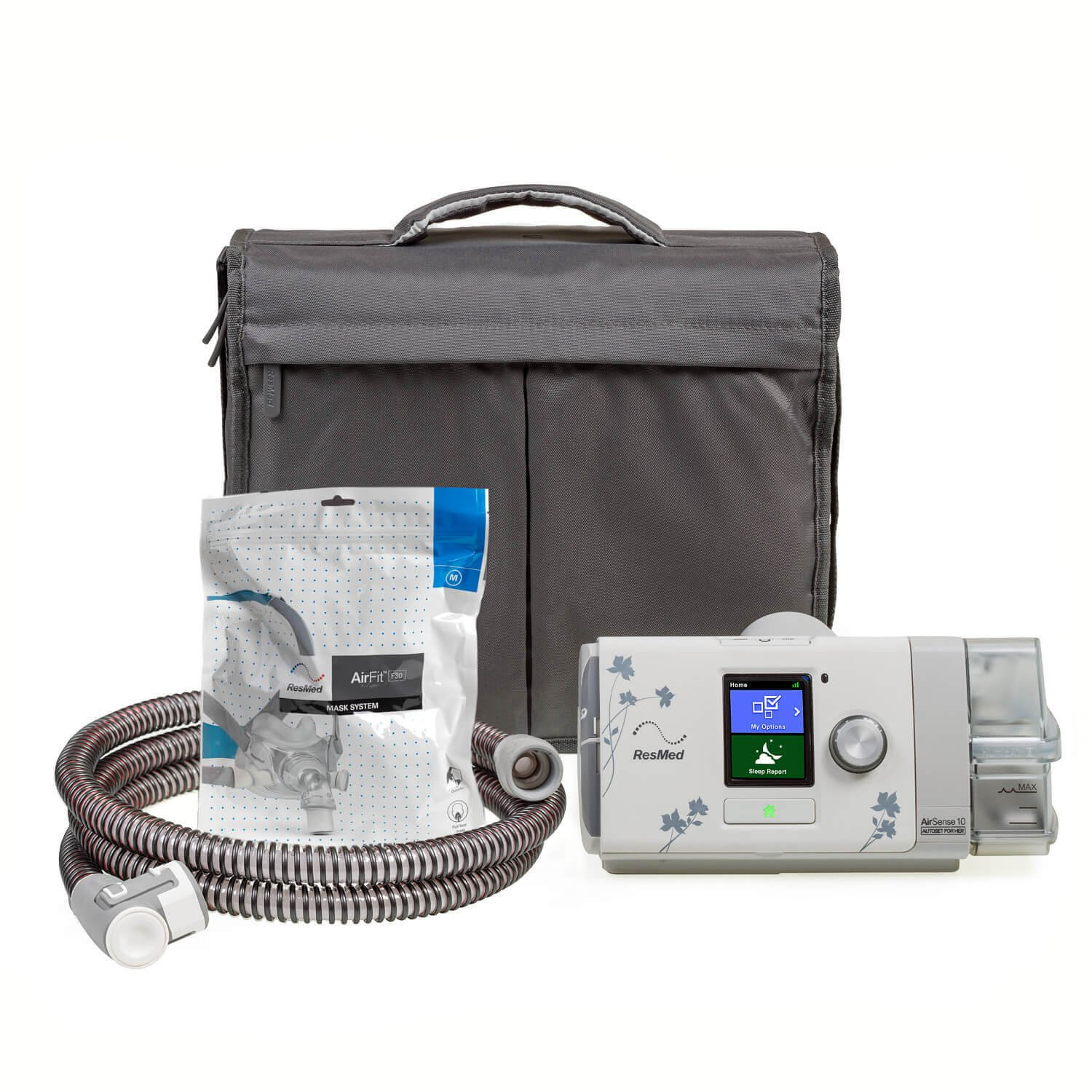 NEW ResMed AutoSet AirSense 10 with 2-year warranty, F30 mask, HEATED hose, Heated Humidifier 37208