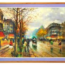 """Large (66"""" x 47"""") Oil Painting on Canvas, Signed, Rain in Paris"""