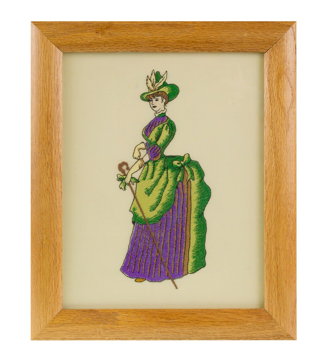 Antique Framed Embroidered Picture Tapestry Lady In Evening Dress