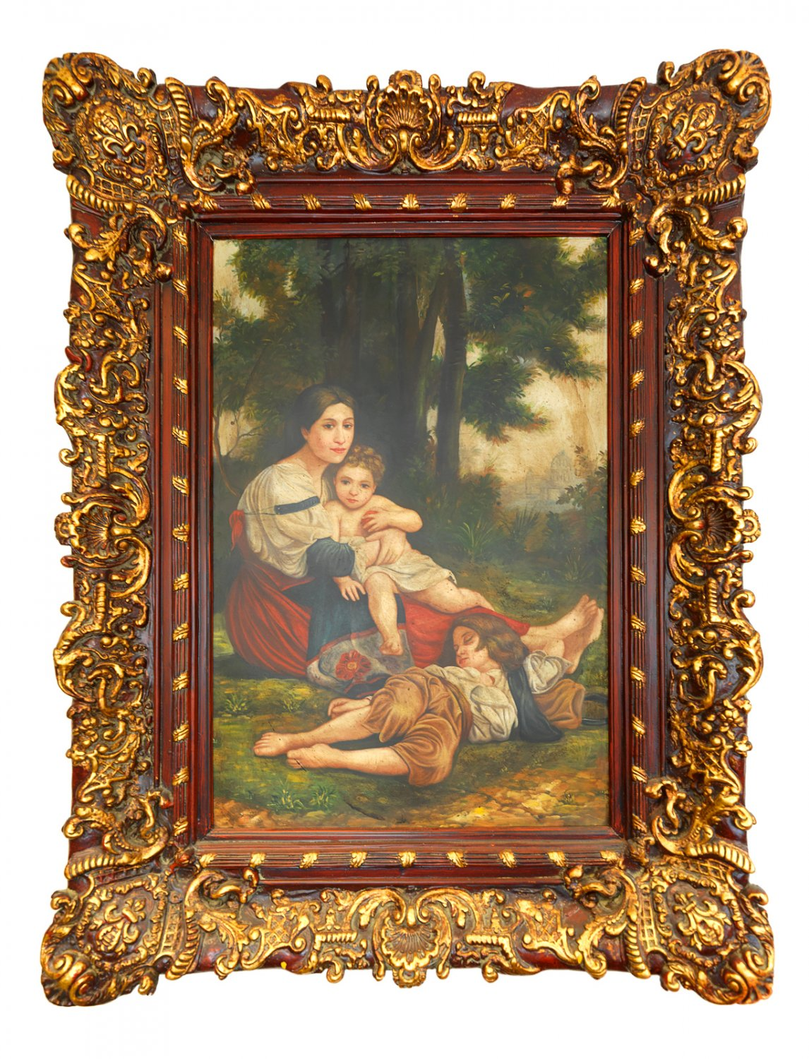 Large Painting Mother with Children Oil on Canvas in Beautiful Frame