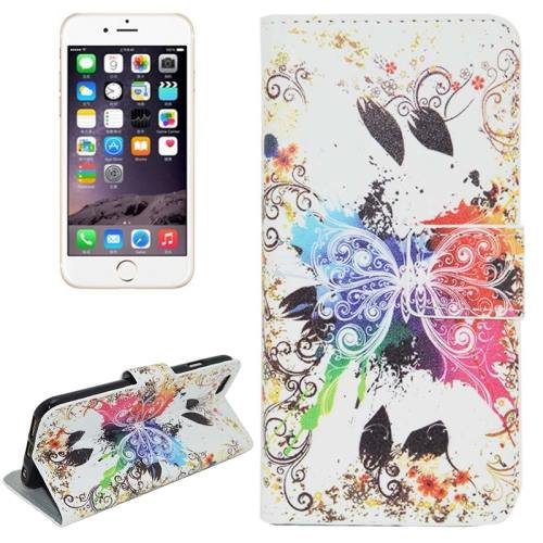 For iPhone 6 Plus Butterfly Leather Case with Holder, Card Slots & Wallet
