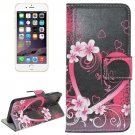 For iPhone 6 Plus Heart Leather Case with Holder, Card Slots & Wallet