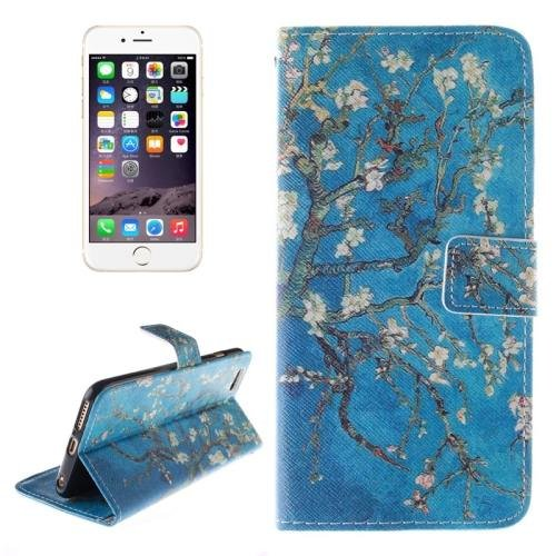 For iPhone 6 Plus Plum Blossom Double Sided Print Leather Case with Holder, Card Slots & Wallet