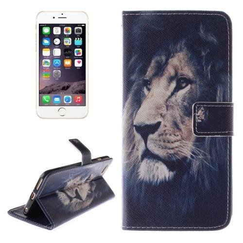For iPhone 6 Plus Lion Double Sided Print Leather Case with Holder, Card Slots & Wallet