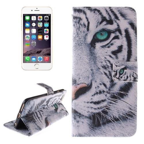 For iPhone 6 Plus Tiger Double Sided Print Leather Case with Holder, Card Slots & Wallet