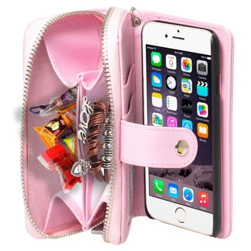 For iPhone 6 Pink 2 in 1 Separable Zipper Wallet Leather Case with Lanyard
