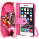 For iPhone 6 Magenta 2 in 1 Separable Zipper Wallet Leather Case with Lanyard